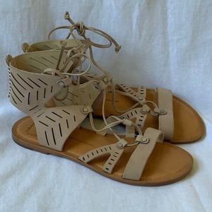 Dolce Vita nude leather lace up cut out gladiator